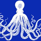 Navy Blue Kraken Octopus pattern