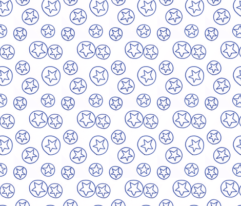 Blue Stars and Circles fabric by katebutler on Spoonflower - custom fabric