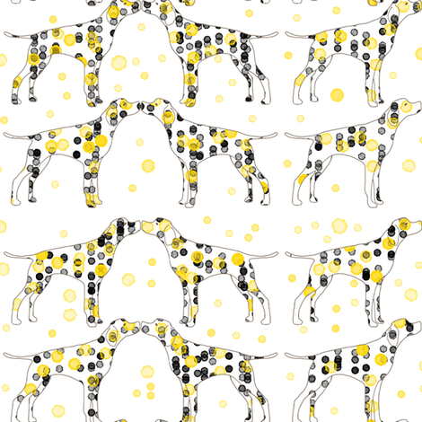 yellow dotty dogs fabric by samdraws on Spoonflower - custom fabric