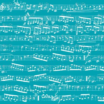 Turquoise Sheet Music Fabric Inspirationz Spoonflower