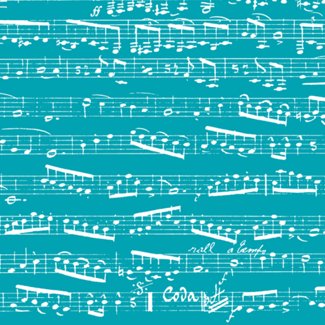 Turquoise Sheet Music fabric by inspirationz on Spoonflower - custom fabric