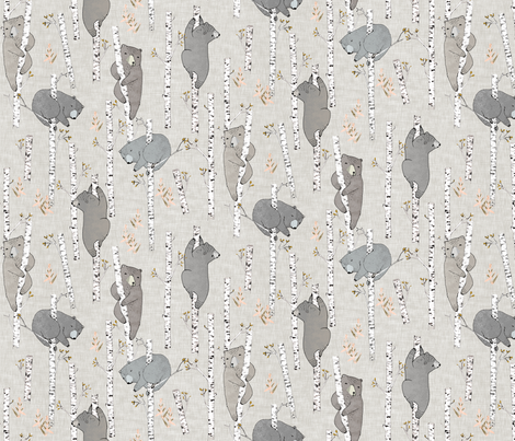 Birch Bears SMALL (latte)  fabric by nouveau_bohemian on Spoonflower - custom fabric