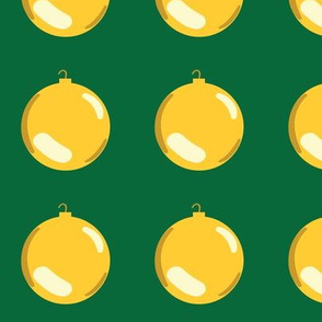 Christmas Ornaments on Green