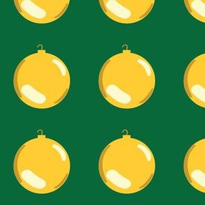 Christmas Ornaments on Green
