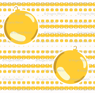 Christmas Ornaments and Garland on Gold