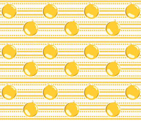 Christmas Ornaments and Garland on Gold fabric by pange on Spoonflower - custom fabric