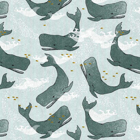 Whales (dark) SMALL fabric by nouveau_bohemian on Spoonflower - custom fabric