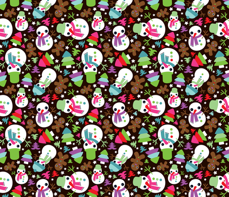 Mister snow man and his friend ginger bread fabric by littlesmilemakers on Spoonflower - custom fabric