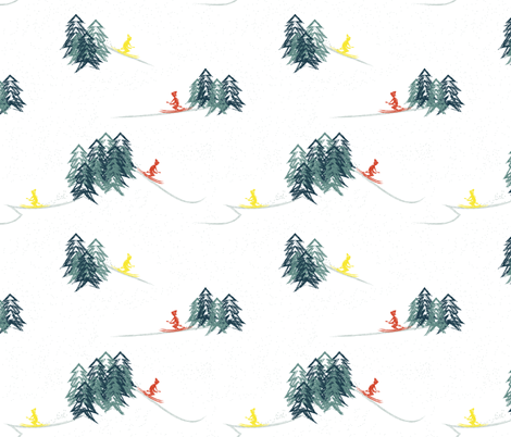 skiing fabric by hmooreart on Spoonflower - custom fabric