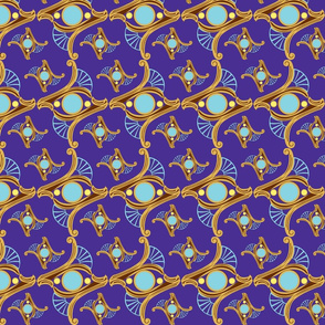 RING-deep solid purple -sky blue-small yellow