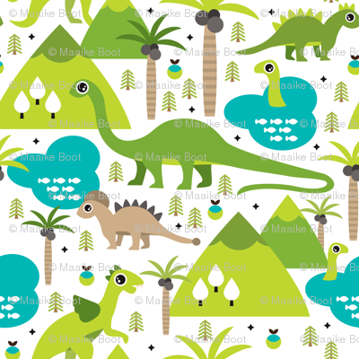 Cute dinosaur woodland illustration pattern cute dino nature print for kids and cool boys