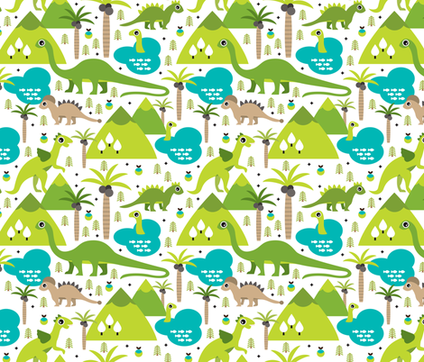 Cute dinosaur woodland illustration pattern cute dino nature print for kids and cool boys fabric by littlesmilemakers on Spoonflower - custom fabric