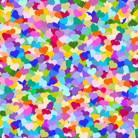 Rainbow Confetti Hearts fabric by inspirationz on Spoonflower - custom fabric