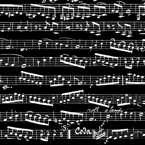 Music Notes on black fabric by inspirationz on Spoonflower - custom fabric