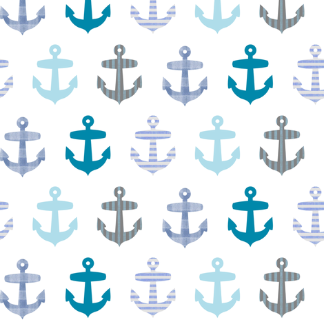 Nautical blue anchor pattern on white fabric ...