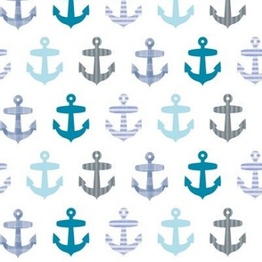Nautical blue anchor pattern on white