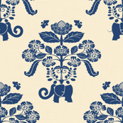 Elephant Damask in Natural and Indigo