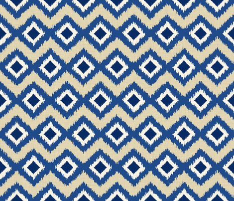Ikat in Natural and Indigo fabric by shellypenko on Spoonflower - custom fabric