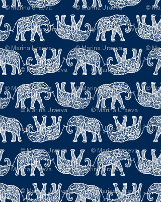 elephants on navy
