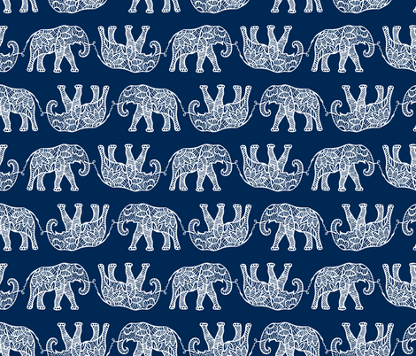 elephants on navy fabric by uramarinka on Spoonflower - custom fabric