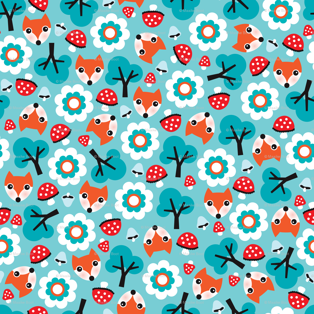 Baby Fox Fall Pattern Cute Tossed Woodland Design For And Winter Wallpaper