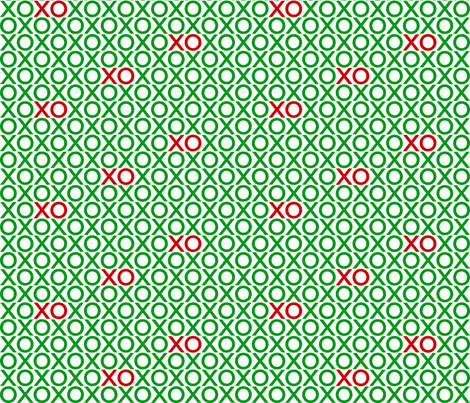 XOXO : green + red : small fabric by muchoxoxo on Spoonflower - custom fabric