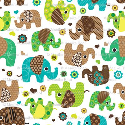 Cute retro kids elephant pattern fabric fabric for Retro kids fabric