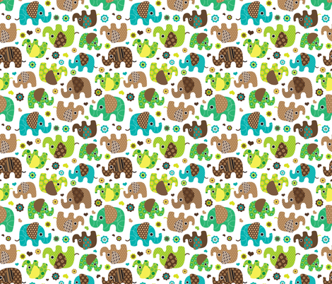 Cute retro kids elephant pattern fabric fabric for Childrens elephant fabric