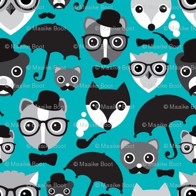 Hipter fox owl bear and skunk