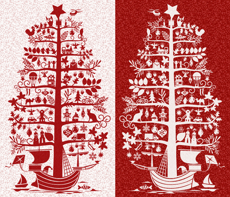 Christmas Tree - Ship Wall Hanging fabric by chicca_besso on Spoonflower - custom fabric