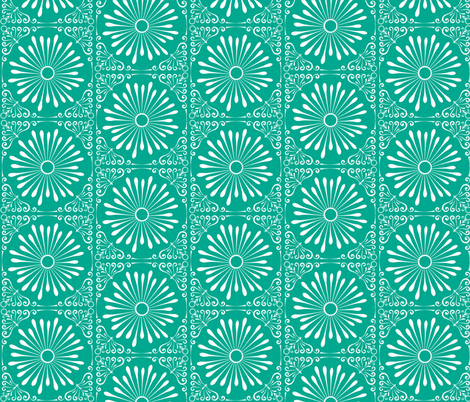 Lacy Bloom Deep Teal fabric by upstyle_design on Spoonflower - custom fabric