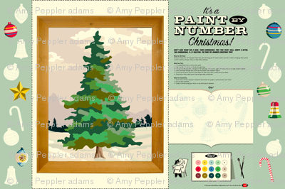 Paint-by-Number Christmas Tree || holiday diy paint number pbn cut and sew ornaments color your own print poster painting