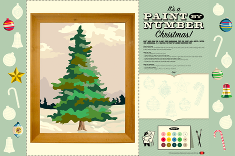 Paint-by-Number Christmas Tree || holiday diy paint number pbn cut and sew ornaments color your own print poster painting fabric by pennycandy on Spoonflower - custom fabric