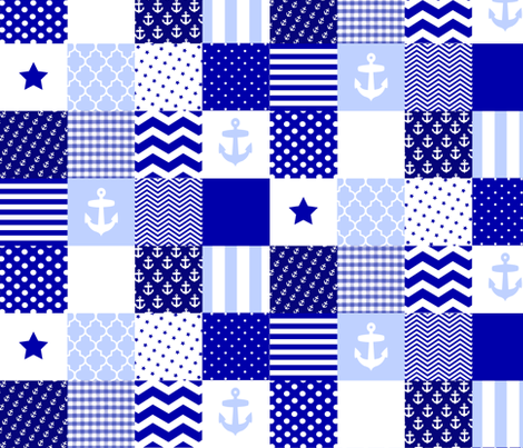 Nautical Blue And White Cheater Quilt Fabric Inspirationz