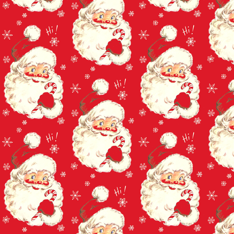 Hi Santa! Christmas real red Vintage size med fabric by parisbebe on Spoonflower - custom fabric