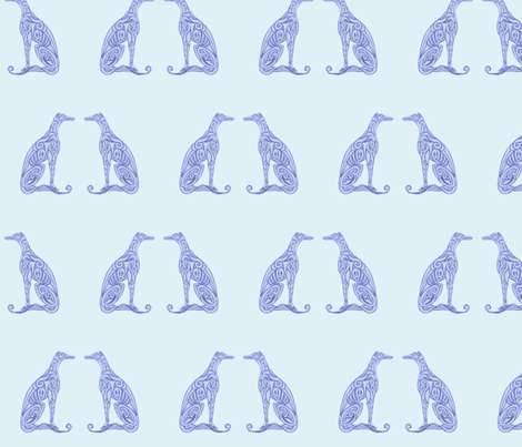 Greyhounds - Seeing Double - Baby Blue fabric by lottibrown on Spoonflower - custom fabric