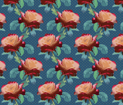 Rose - Double Delight Dark fabric by chantal_pare on Spoonflower - custom fabric