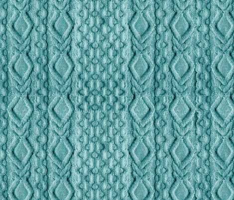 Teal Knitted Cables fabric by chantal_pare on Spoonflower - custom fabric