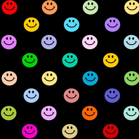 Rainbow Smiley Polka dot pattern fabric by inspirationz on Spoonflower - custom fabric