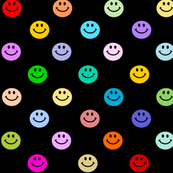 Rainbow Happy Face Smiley Polka dot pattern (large print)