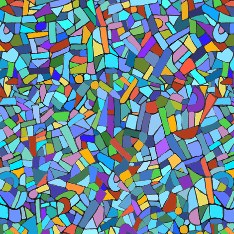 Colorful Stained Glass inspired Mosaic fabric by inspirationz on Spoonflower - custom fabric