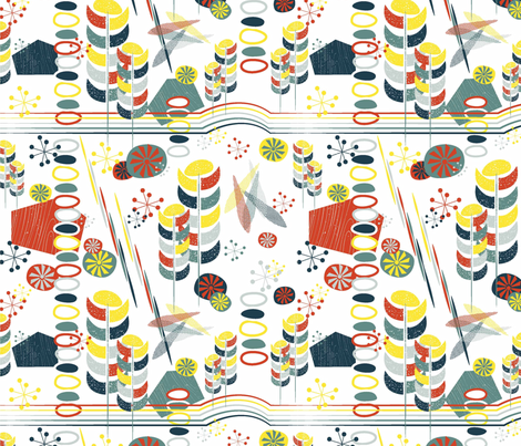 Retro Skiing fabric by designedtoat on Spoonflower - custom fabric