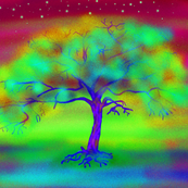 COLORFUL TREE BORDEAUX PILLOW PANEL