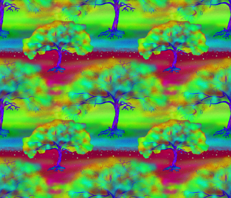 COLORFUL TREE BORDEAUX LARGE REPEAT fabric by paysmage on Spoonflower - custom fabric