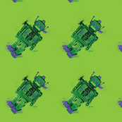 Splattery Green Toy Robot