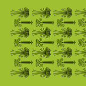 block stamp flowers on greenery tea towel