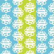 Fun Flowers white on blue green Stripes
