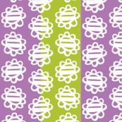 Fun Flowers white on purple green Stripes