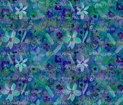 Teal Dark Floral