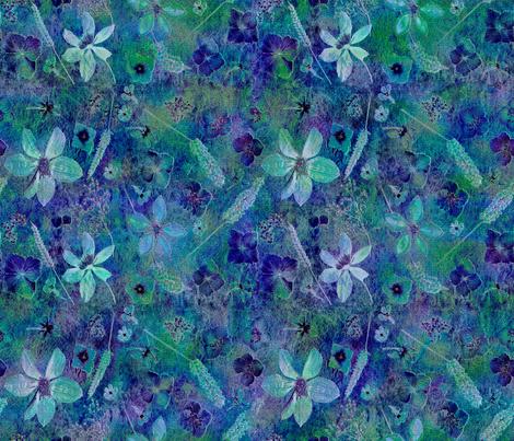 Teal Dark Floral fabric by mypetalpress on Spoonflower - custom fabric